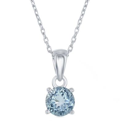 Sterling Silver & Blue Topaz March Birthstone Necklace